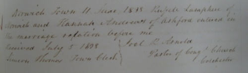 marriage record from Norwich, Connecticut