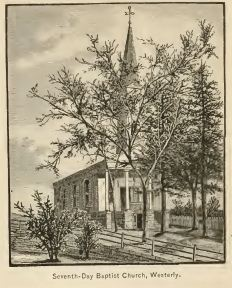 Seventh Day Baptist Church, Westerly, taken from Picturesque Rhode Island by Wilfred Munro, 1881, p. 271.
