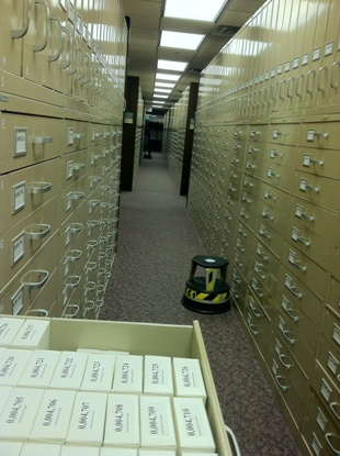 One of many many aisles of microfilm