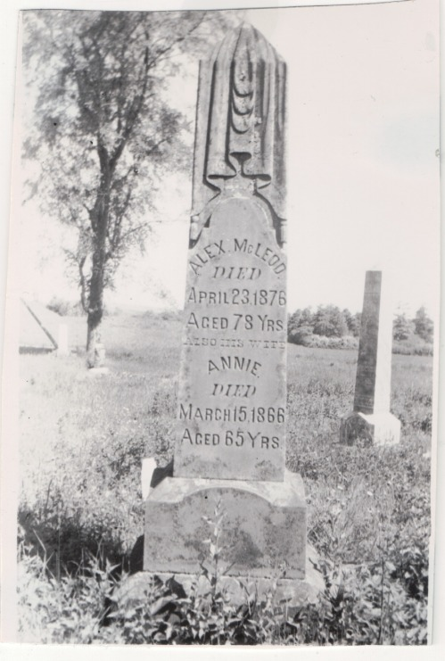 Grave marker for Alex and Annie MacLeod, St. Columba Cemetery in Lorne, Pictou, Nova Scotia, from the collection of Alex MacLeod.