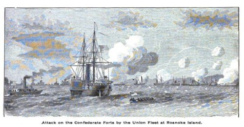 Attack on the Confederate Forts by the Union Fleet at Roanoke Island, from page 17, The History of the Fidth Regiment of R.I. Heavy Artillery, Burlingame, comp.  Providence: 1892.