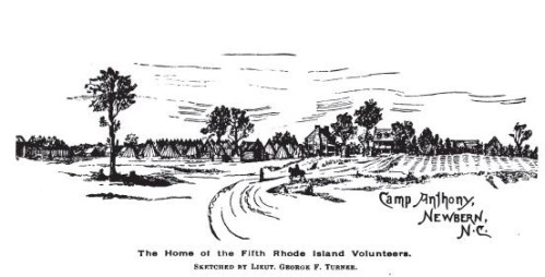 Camp Anthony, NewBern, NC from p.78. History of the Fifth Regiment of Rhode Island, Burlingame, comp. Providence: 1892.
