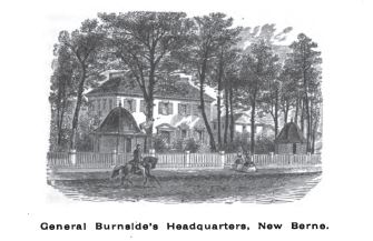 General Burnside's Headquarters, New Berne, NC, from p. 73, History of the Fifth Regiment of Rhode Island, Burlingame, comp. Providence: 1892.