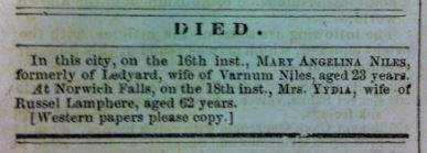 Death norice of Lydia Miner Lamphere, from the Norwich Courier, January 18, 1849