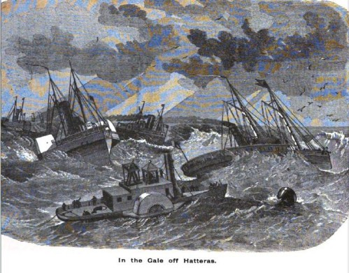 The Gale off Hatteras, from The History of the Fifth Regiment of R.I. Heavy Artillery, Burlingame, comp.  Providence: 1892.