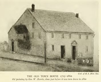 Old Town House, 1723-1860, Oil painting by George W Harris, done just before it was torn down in 1860. --from Old Providence, A Collection of Facts and Traditions, 1918, Providence, RI, p.7