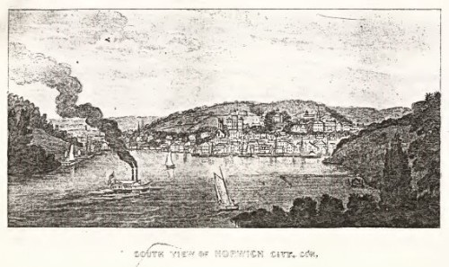 View of Norwich, 1836, from Connecticut Historical Collections, by J.W. Barber, 1836.