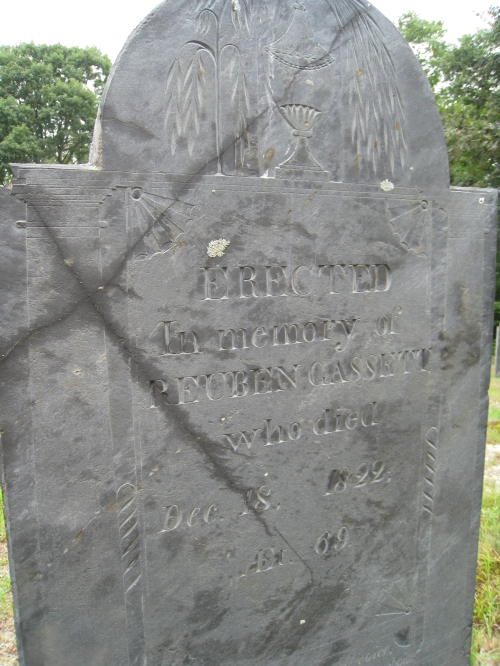 Erected in Memory of Reuben Gassett who dies Dec 18, 1822 Ae 69. at the Old Burying Ground, Townsend, Mass.
