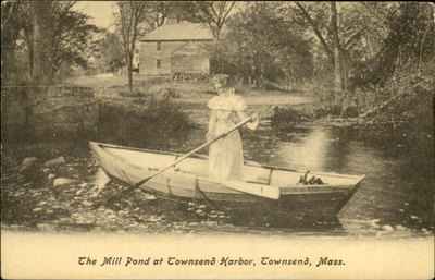 """The Mill Pond at Townsend  Harbor, Townsend, Massachusetts"" from an old postcard"