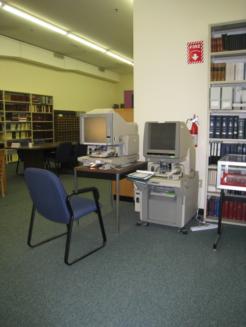 Microfilm station at the State Archives