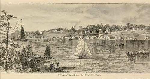 East Greenwich, view from the water.  From Wilfred Munro's Picturesque Rhode Island, 1887, p. 241.