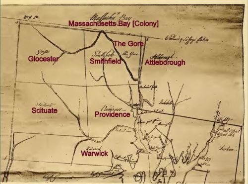 Map of Rhode Island, Surveyed by James Helme and William Chandler, 1741. Note that Providence is bordered directly by Smithfield and The Gore to the north, and by Scituate to the west.  From Providence in Colonial Times by Gertrude Selwyn Kimball, 1912, p. 206.