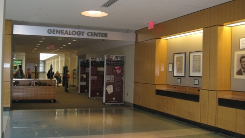 Entrance to the Genealogy Center on the second floor