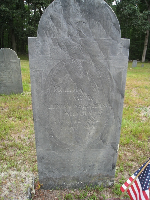 In Memory of Lieut. Benjamin Spaulding who died May 27, 1832, aged 89.