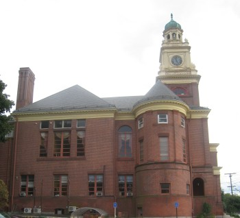 Cumberland Town Hall, viewed from the side.  Photo by Diane Boumenot.