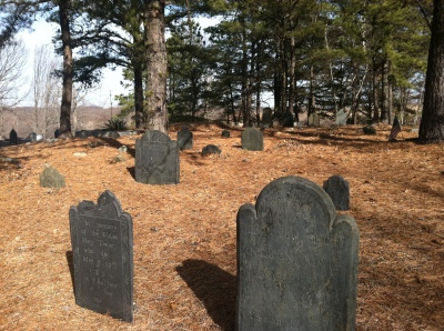 Elder Ballou Cemetery, Cumberland, Rhode Island.  Photo by Diane Boumenot, February, 2012