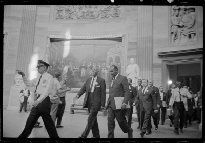 A. Philip Randolph and other civil rights leaders on their way to Congress during the March on Washington, 1963. Photo by Marion S. Trikosko.  Library of Congress LC-DIG-ppmsca-37241