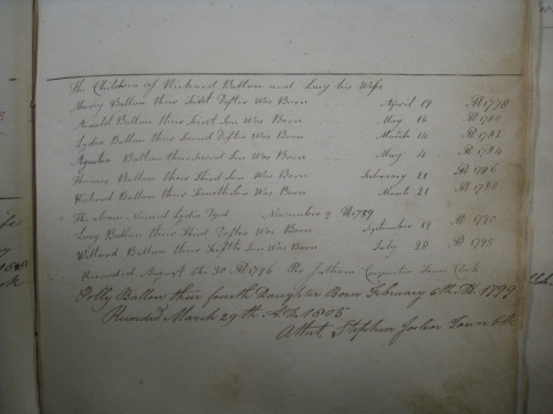 Page from Cumberland Births and Deaths, vol. 2, Cumberland Town Hall