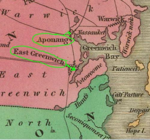 Greenwich Bay, on west side of Narragansett Bay, leads to Apponuag and East Greenwich.  The area in between is called Cowesett.  Map by A. Finley, 1831.