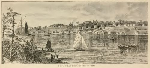 View of East Greenwich from the water.  From Picturespue Rhode Island, W. Munro, 1881.
