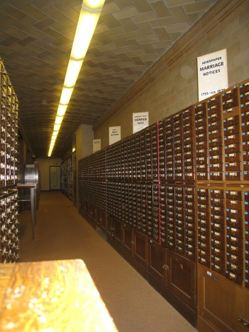 There is a long hallway to one side of the reading room that contains many of the well-known Connecticut card indices. You get to visit them in person!