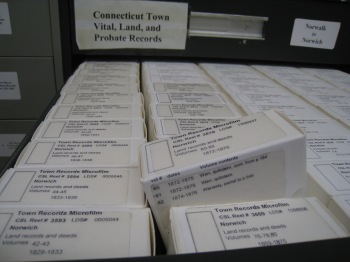 The microfilm (here, of local town records including vital, probate and land) was neatly and clearly labelled.
