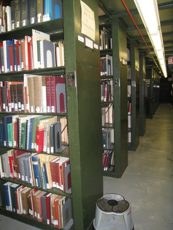 The book stacks contained town books, family genealogies, and related books and journals.
