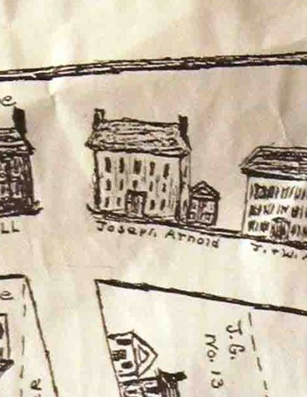 Snippet of the 1805 Apponuag map, showing the rather grand three story house of Joseph Arnold - the WRONG Joseph Arnold - on a busy intersection near where the city hall is today.