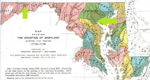 Map of Maryland, showing first arrow to the farm location, and second arrow to Fells Point, Baltimore.