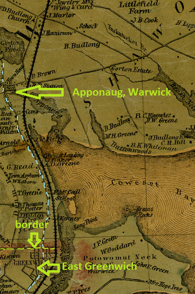 The division between Warwick and East Greenwich is close to Main Street, EG.  Post Road marked in blue.