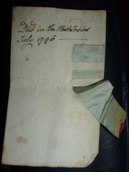 The Masonic document, with writing on the back