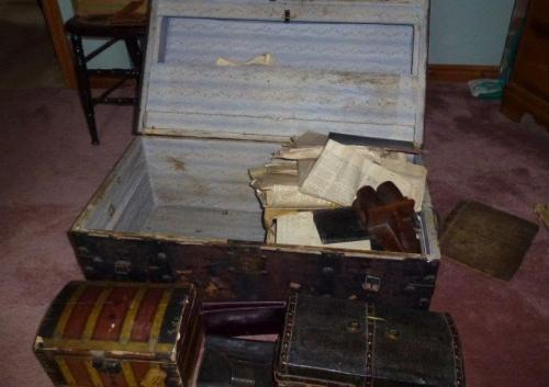 James Anderson's sea chest, which contains a few of his documents and many later family papers. Photo by Pat Hagan.