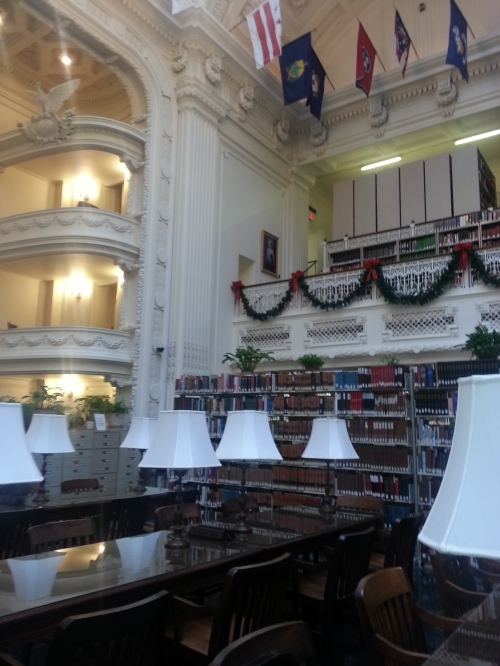 The library is a grand and lovely setting for research.