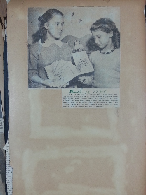 A picture of my Aunt Ann and a friend from 1945, pasted into my great grandmother's scrapbook, soon to be digitized.
