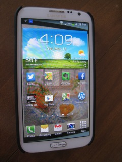 My phone is a Samsung Galaxy Note II.  Its freakishly big screen comes in handy in many ways.