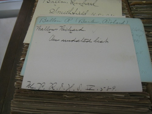 Entries for my ancestor Richard Ballou.  Reference to the source is at the bottom of the card.