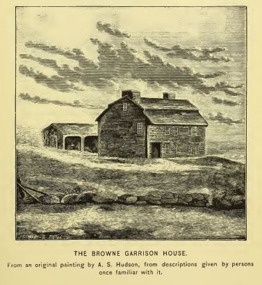 The Brown Garrison House, pictured in Hudson's History of Sudbury Massachusetts, 1889, p. 199.  So far, I have found no link from the early Sudbury Brownes to Nathaniel Brown.