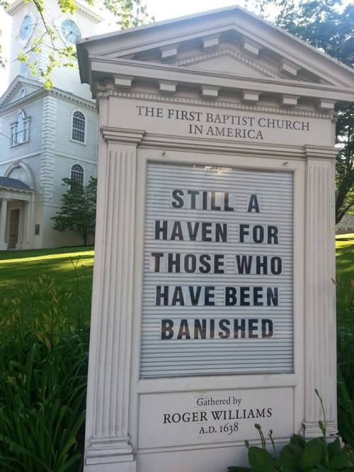 The First Baptist Church in America, nearby.
