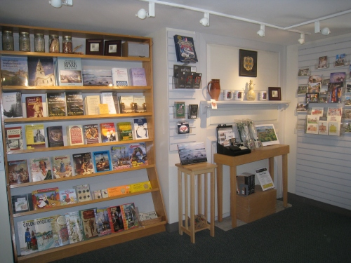 Books are for sale in the welcome center.