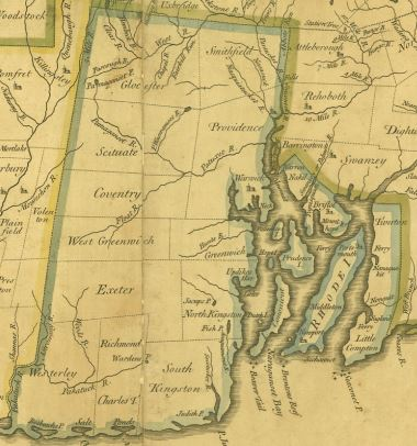 1753 map from Plan for the British Dominions of New England and North America by William Douglas MD.