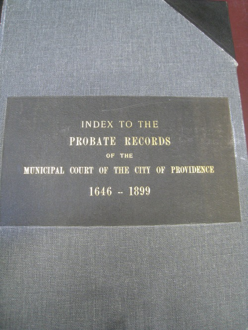 Index to the Providence probate records