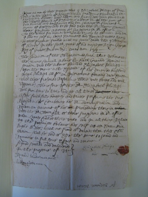 1719 Bond of Elizabeth Phillips