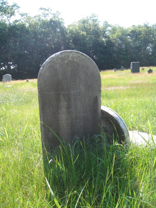 Phylia Collar, wife of Hezekiah Collar, died September 15, 1845. The stone leaning up against hers is Pardon Newell.