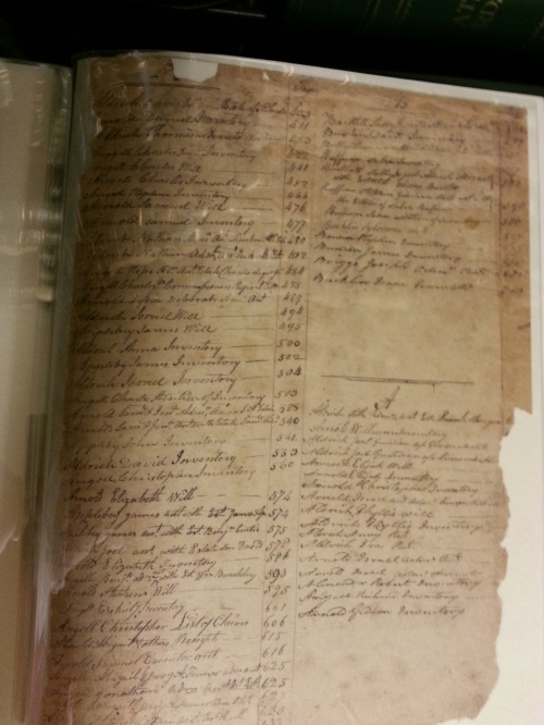 A probate index page