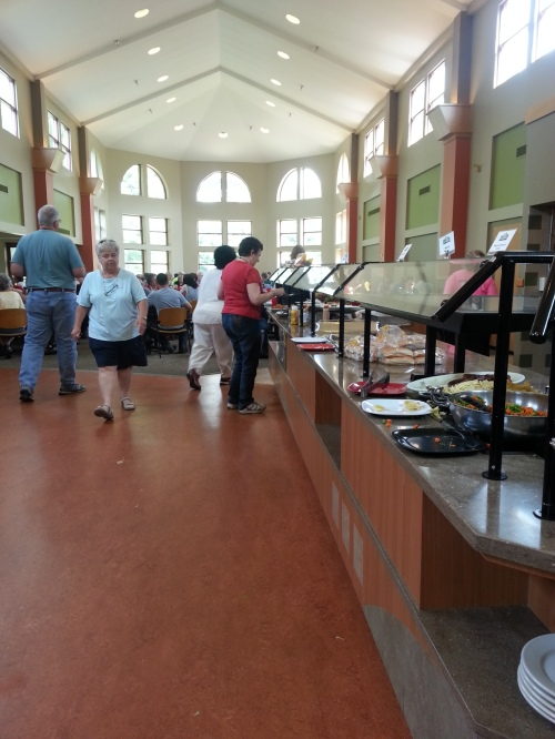The lunch line, with the table area in the background.
