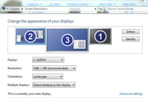 Screen Resolution settings also allow you to see the settings for each monitor unit, including #1 the original laptop screen, which is now black.
