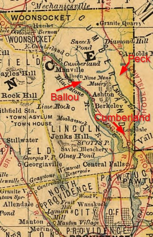 The three cemeteries mentioned here in eastern Cumberland - fromthe northeast corner of Rhode Island on the 1875 Rand map.