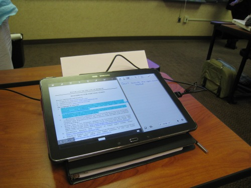 Using my Galaxy Note tablet, I could keep the screen open for writing notes, plus another window for the pdf app to look at the syllabus.  My friend Minda McAully showed me how to open the syllabus in Acrobat Reader so I could also highlight, write on it, etc.  She's brilliant!
