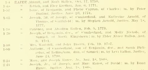 Joseph Razee marriage entries in Cumberland portion of Arnold VR, vol. 3, p. 54.