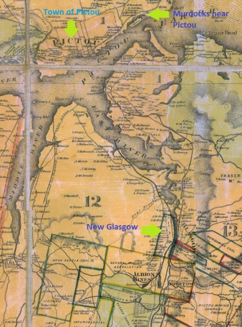 The town of Pictou is not far from New Glasgow.  Lorne, where Jessie MacLeod grew up, is beyond the edge of this map, south of New Glasgow, and slightly to the west.
